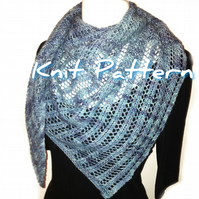 Triangle Trellis Shawl, easy one-skein knitting pattern pdf