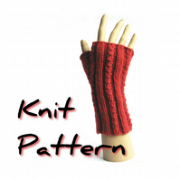 Ribbed fingerless mitts knitting pattern pdf, Dizzy Twist, faux cable, aran yarn