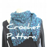 Light and Lacy Shawl, easy one-skein crochet pattern pdf