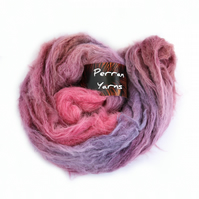 Handdyed DK brushed alpaca merino wool Perran Yarn Winter Sunset lilac pink plum