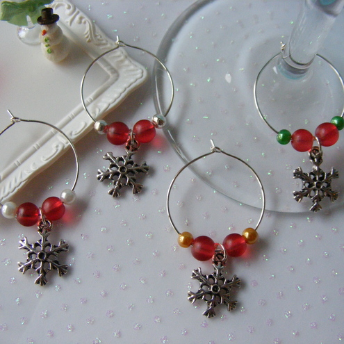 Set of Four Christmas Snowflake Wine Glass Charms