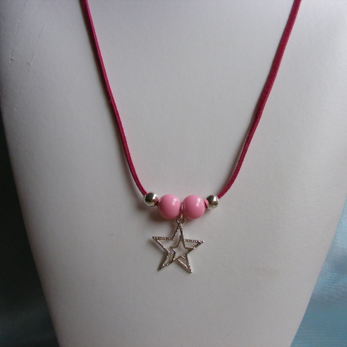 Pink Faux Suede Star Necklace