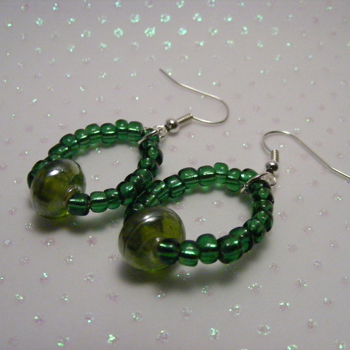 Green Glass Bead Earrings - PAY IT FORWARD ITEM