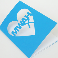 Mwah Papercut Valentines Card - BLUE ONLY