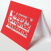 Merry Christmas Handsome Papercut Greetings Card