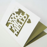 You Had Me At Hello Papercut Greetings Card