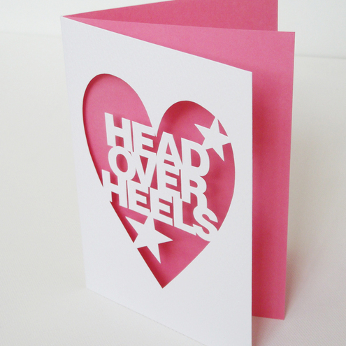 Head Over Heels Hand Cut Valentines or Anniversary Card