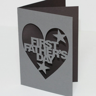 First Fathers Day Hand Cut Greetings Card