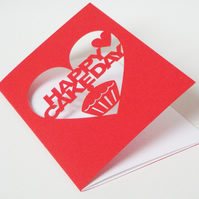 Happy Cakeday Cut Out Birthday Card Red or Purple