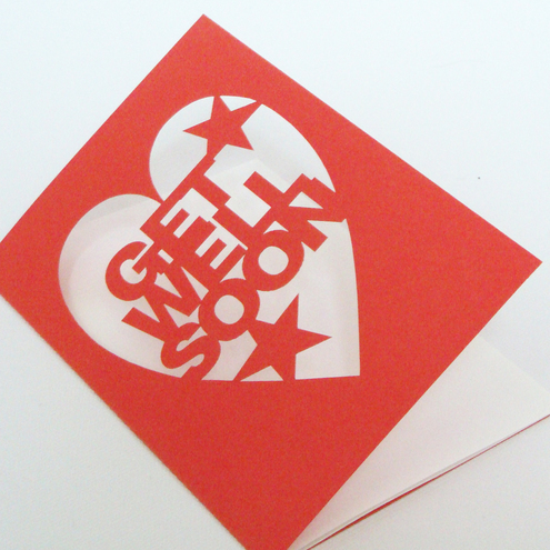 Rusty Orange 'Get Well Soon' Cut Out Card