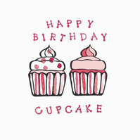 Two little cupcakes 5x5 inch birthday card