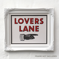 Lovers Lane Sign Letterpress Print