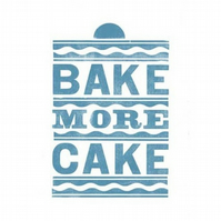Bake More Cake Letterpress Print Blue