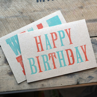 Happy Birthday Letterpress kraft A6 Card