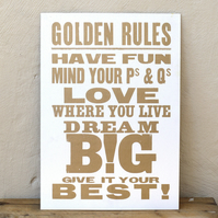 Golden Rules Letterpress Print