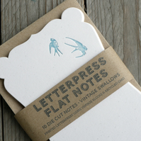 Vintage Swallows Letterpress Die-cut Note Cards (set of 5)