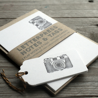 Vintage Camera letterpress Notes & Tags(set of 5)