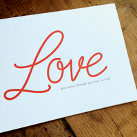 Love.. you even thought you fart in bed Letterpress Card