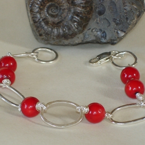 Sterling silver bracelet with red sea bamboo beads