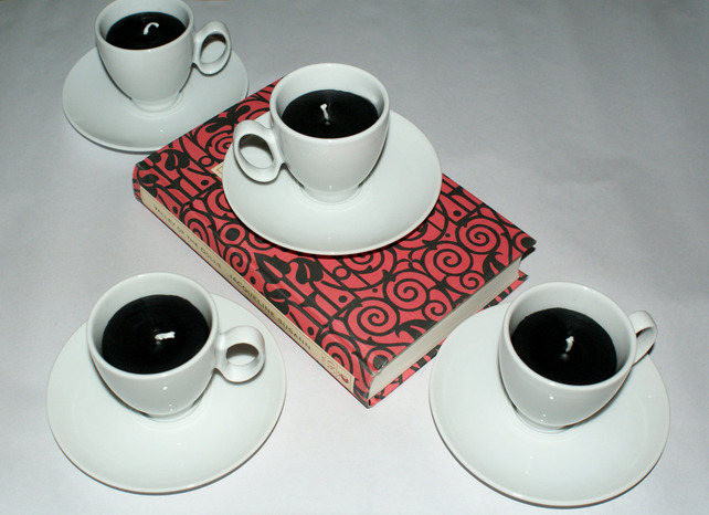 Midnight Black and White Scented Candle Set of 2 Tea Cup Espresso