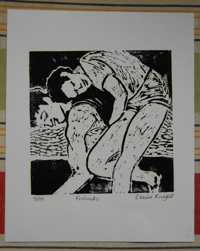 Original wood cut print 'Friends'