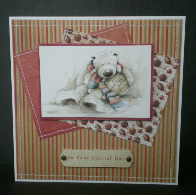 football teddy male greetings card