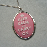 Light Pink Keep Calm and Carry On Cameo Necklace