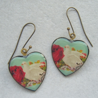 White Dove Heart Earrings