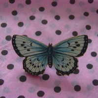 Blue Speckled Butterfly Brooch