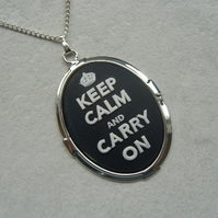 Black Keep Calm and Carry On Cameo Necklace