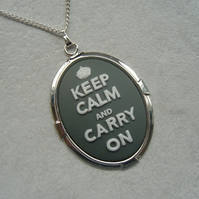 Grey Keep Calm and Carry On Cameo Necklace