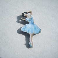 Blue Ballerina Brooch
