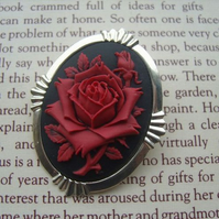 Red Rose Cameo Brooch