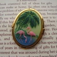 Flamingo Cameo Brooch