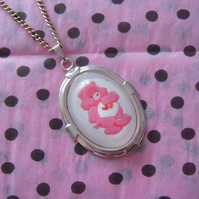 Pink Care Bear Cameo Necklace