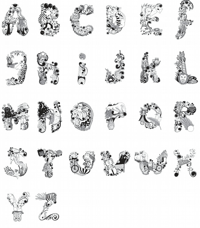 Illustrated Alphabet Name Print