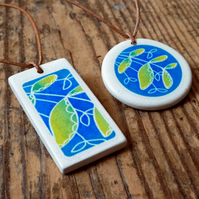 Ceramic pendant necklace - branching out teal