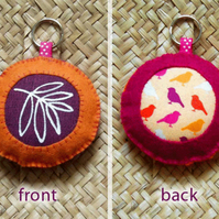 soft keyring - orange and plum b