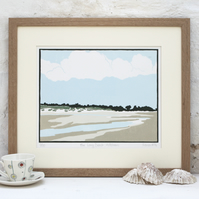 Hand Printed The Long Beach, Holkham Linocut Print