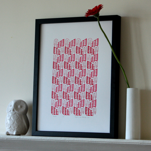 SWANS silkscreen print in bright red & hot pink - edition of 50