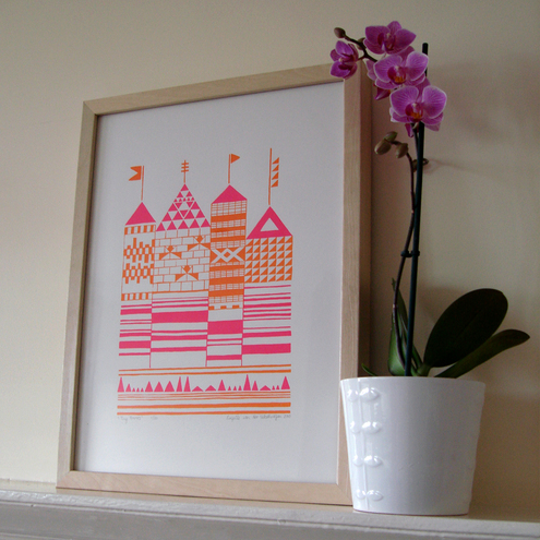 Tiny Towers silkscreen print - orange and fuschia