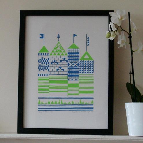 Tiny Towers silkscreen print - blue and lime green