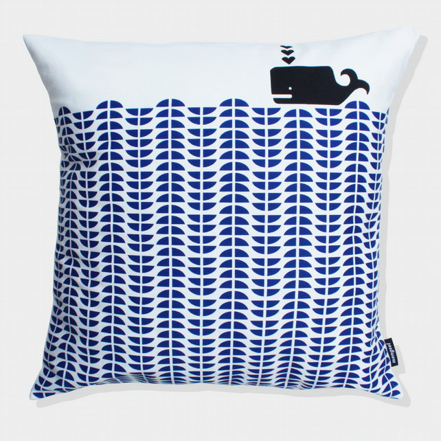 Whale cushion in Delft Blue