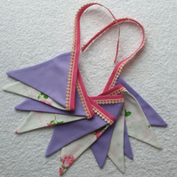 Purple and Pink Floral Bunting - 2 Metres