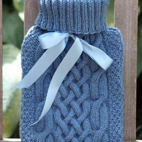 Hand Made Cable Knitted Hot Water Bottle Cover Folksy