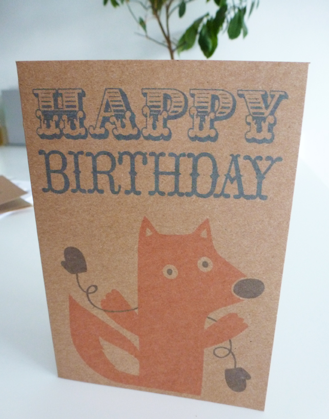 Foxy in Mittens Birthday Card