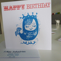Sleepy Mermaid Birthday Card