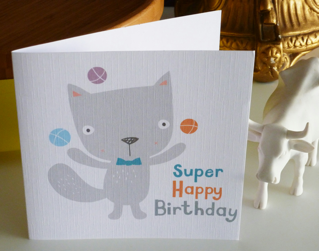 Juggling Cat Birthday Card