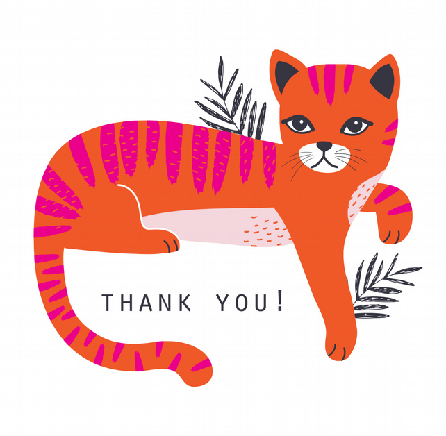 BUSTER THE CAT Thank You Card Pack x 6