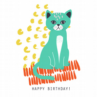 COO-KI-CHOO THE CAT Birthday Card